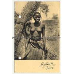 Ruanda / Africa: Pretty Topless Woman / Meilleurs Voeux (Vintage RPPC B/W ~1950s/1960s)