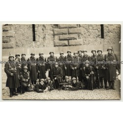 Group Of Armed Soldiers In Uniforms / Belgium? (Vintage RPPC ~1920s )