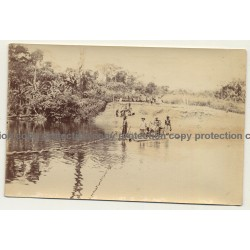 Congo: Mr. Ferrante Passes River On Raft / Natives (Vintage Photo Sepia 1919)