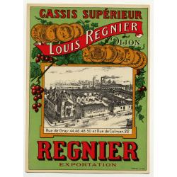 Cassis Supérieur Louis Regnier / Dijon (Vintage Chromo Litho Label ~1910/1920s)