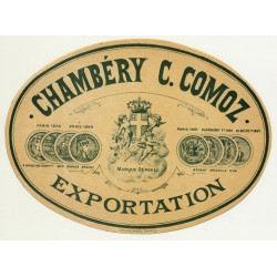 Exportation / Chambéry-Comoz (Vintage Alcohol Label ~1910/1920s)