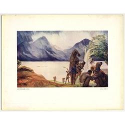 Allard L'Olivier: La Tornade. Kivu (Vintage Art Print 32 x 25.5 CM ~1930s)