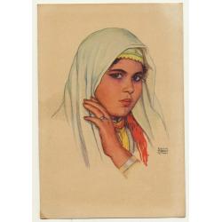 Erwin Hubert: Young Moroccan Woman / Oficina De Turismo Tetuan (Vintage Artist Postcard)