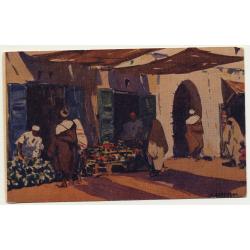Mariano Bertuchi: Marruecos - Puesto De Frutas (Vintage Artist Postcard)