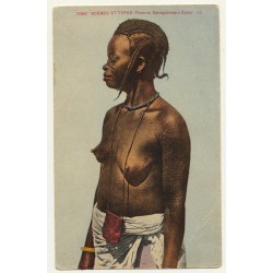 7062 Scenes Et Types: Femme Senegalaise A Dakar / Topless (Vintage Colored Postcard)
