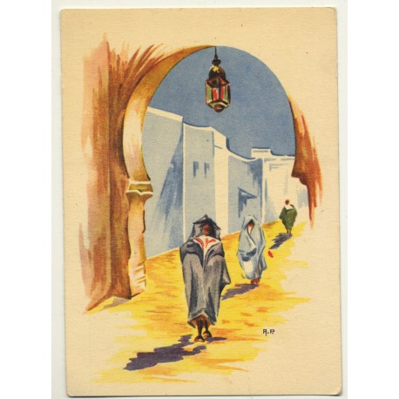 A. P.: Moroccan Street Scene / Aquarel (Vintage Artist Postcard)