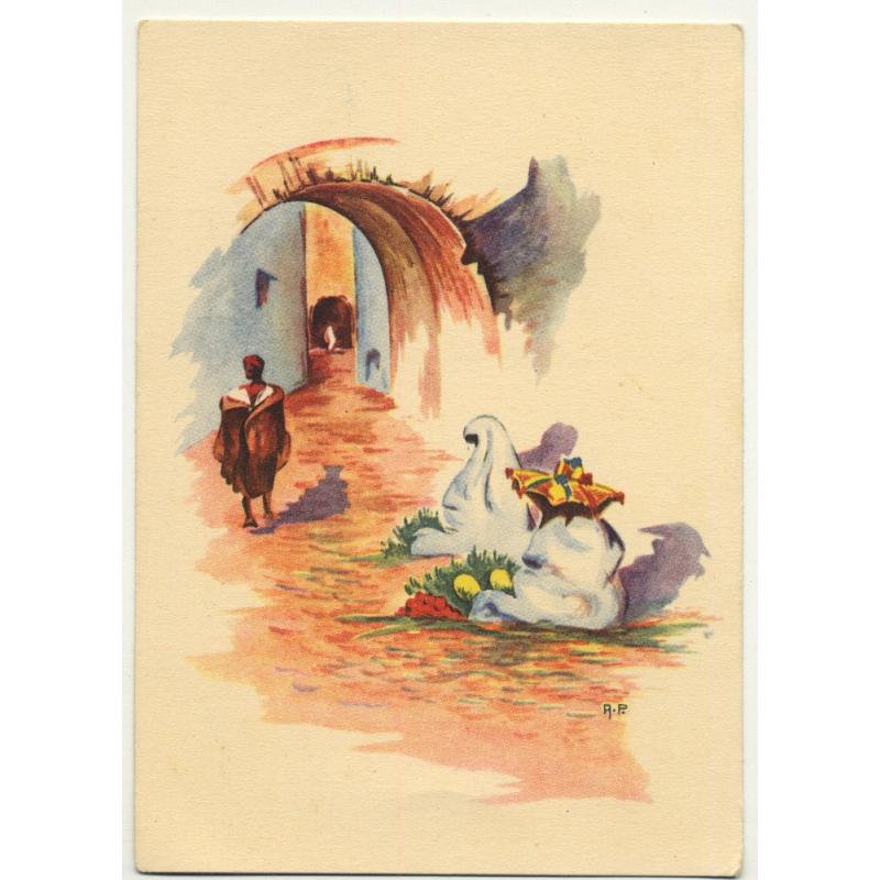 A. P. - Tanger: Moroccan Street Scene *2 / Aquarel (Vintage Artist Postcard)