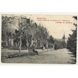 Barcelona: Parque De Las Magnolias Y Umbráculo / Elixir Giol Publicidad (Vintage Postcard B/W)