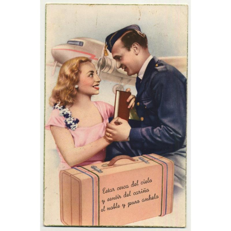 Aviation: Estas Cerca Del Cielo Y Sentir Del Cariño El Noble Y Puro Anhelo (Vintage Postcard)