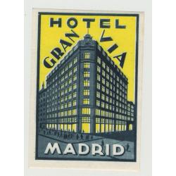Hotel Gran Via - Madrid / Spain (small) (Vintage Luggage Label)