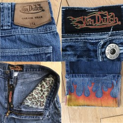 Von Dutch: Rare Vintage Flame Jeans From The 1990s / Size 32