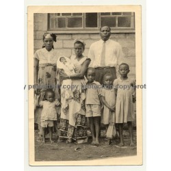 Congolese Family Sends Greets To Colonial Master (Vintage Photo B/W 1960)
