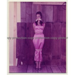 Brunette Beauty In Pink Dress Tied To Pale *3 / Gag - BDSM (Vintage Photo USA ~1970s)