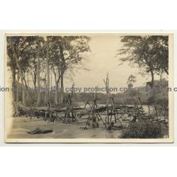 Congo Belge / Africa: Native People Building Wooden Bridge / River (Vintage RPPC B/W ~1930s)