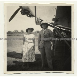 Congo Belge: Passengers Under Propeller Of Airplane / Sabena (Vintage Photo B/W ~1930s)