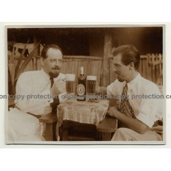 Congo Belge: 2 Men Toast With St. Pauli Girl Lager Beer / Brewery (Vintage Photo Sepia ~1930s)