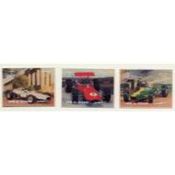 3D Stamps / Umm-Al-Qiwain: 3 Racing Cars / Formula 1 (Vintage Stamps 1972)