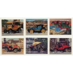 3D Stamps / Umm-Al-Qiwain: 6 x Oldtimers / Classic Car (Vintage Stamps 1972)