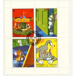 Tom & Jerry / Complete Sheet With 4 Stamps (Vintage Stamps 1972)