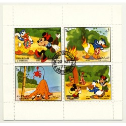 Walt Disney: Mickey, Donald, Goofy & Pluto - Block of 4 Stamps (Vintage Stamps Sarjah 1972)