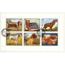 Dogs - Block of 6 Stamps (Vintage Stamps Sarjah 1972)