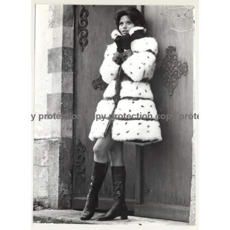 Pretty Woman In Fur Coat / Boots (Vintage Fashion Photo 1970s: Wolfgang Klein)