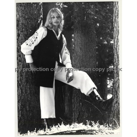 Blonde Hippie Woman In Park (Vintage Photo Master 1970s Fashion)