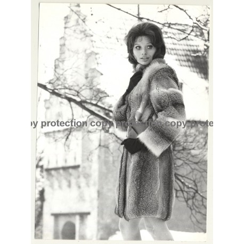 Brunette Beauty In Fur Coat / Snow - Gloves (Vintage Photo Master 1970s Fashion)