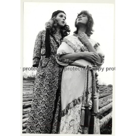 2 Female Photo Models In Costly Brocade Gowns (Vintage Photo Master 1970s Fashion)