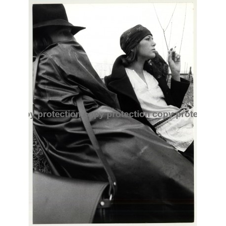 Stylish Couple On Meadow / Leather Coat - Cigarette (Vintage Photo Master 1970s Fashion)