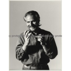 Bearded Man Rolls Cigarette / Red Rock Tabak (Vintage Photo Master 1980s Large)