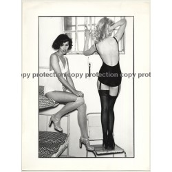 Great Shot Of 2 Slim Women In Lingerie / Suspenders (Vintage Fashion Photo 1980s Large)