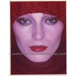 Impressive Portrait Of Female Model With Wool Cap & Scarf  (Vintage Fashion Photo 1980s Large)