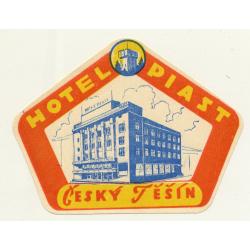 Hotel Piast - Cesky Tesin / Czech Republic (Vintage Luggage Label)