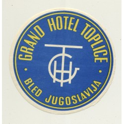 Grand Hotel Toplice - Bled / Slovenia (Vintage Luggage Label) Former Yugoslavia