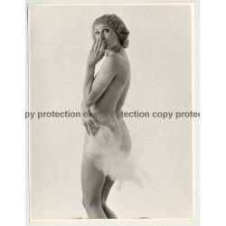 Smoking Nude Woman With Shower Cap (Vintage Advertisement Photo 1970s/1980s)