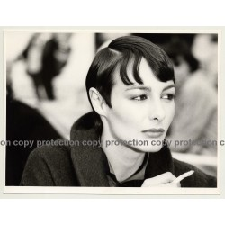 Portrait Of Female Models' Haircut / Cigarette  (Vintage Advertisement Photo 1980s)