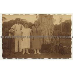 Djoko-Punda - Congo Belge: Colonial Family & Servants (Vintage RPPC Sepia 1926)