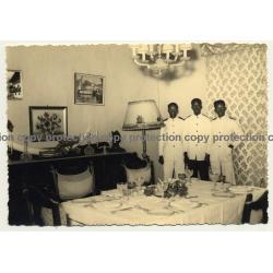 Congo Belge: 3 Indigenous Waiters / Servants (Vintage RPPC Studio Darc Y. Charlier)