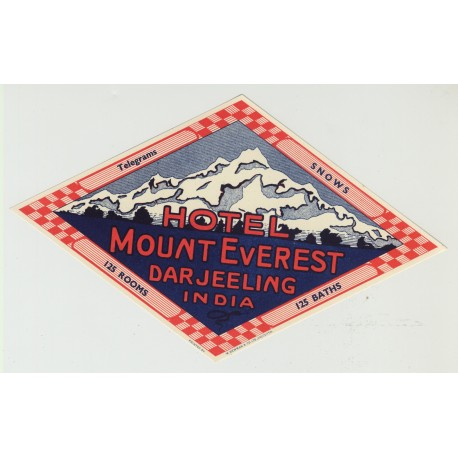 Hotel Mount Everest - Darjeeling / India (Vintage Luggage Label)