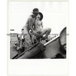 2 Nude Girlfriends Have Fun On Tractor / Lesbian INT (Vintage Photo Master B/W ~1960s/1970s)