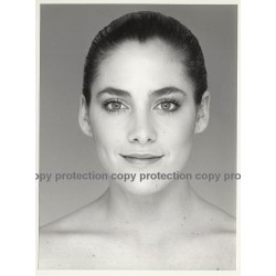 Portrait Of Beautiful Natural Young Woman (Vintage Advertisement Photo B/W)