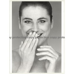 Portrait Of Beautiful Natural Young Woman / Smile (Vintage Advertisement Photo B/W 1980s)
