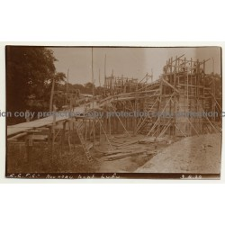 Congo-Belge: Nouveau Pont Lufu / Bridge - Building Site (Vintage 2nd Gen.Photo B/W ~1930s)