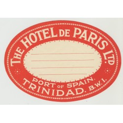 The Hotel De Paris - Port Of Spain / Trinidad (Vintage Luggage Label)