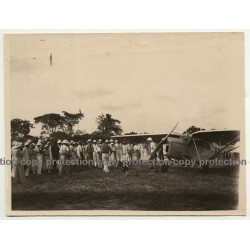 Congo-Belge: Sabena OO-AMN On Airfield / Colonists (Vintage Photo B/W ~1930s/1940s)