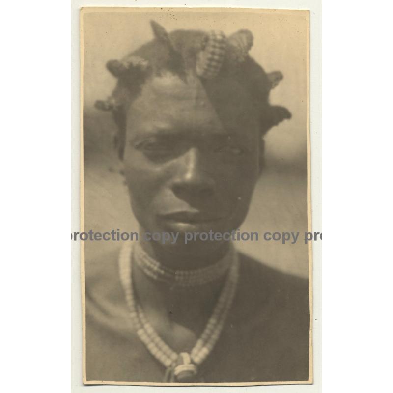Congo-Belge: Portrait Of Indigenous Man / Hairstyle (Vintage RPPC ~1930s)