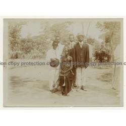 Congo-Belge: Indigenous Family / Sarong - Suit - Bowler (Vintage Photo Sepia ~1910s/1920s)