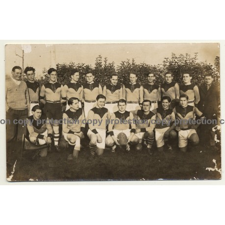 Early Photo Of Rugby Team / Belgium? (Vintage RPPC ~1940s/1950s)