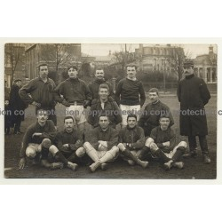Early Photo Of Football Or Rugby Team / Belgium? (Vintage RPPC ~1920s/1930s)
